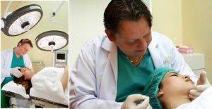 Bác sĩ Á Âu maciej lichaj điều trị khách hàng với căng da chỉ vàng